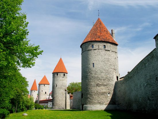 Grassy outlook surrounding Tallinn's medieval defensive walls