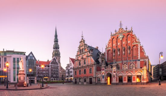 Riga - City Hall Square with the House of Blackheads and Saint Peter Church