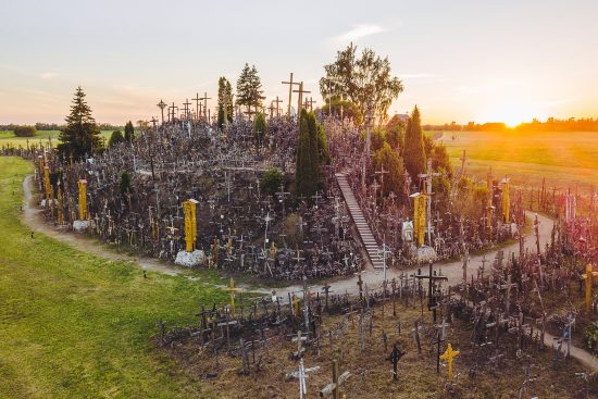 Atop a small hill near Šiauliai (Lithuania) is the Hill of Crosses, a unique and inspiring sight