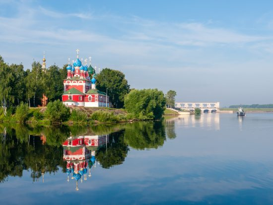 Red church with blue domes, Uglich
